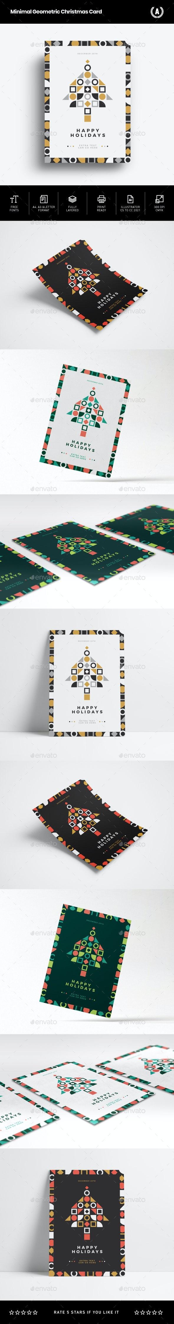 Minimal Geometric Christmas Card - Holidays Events