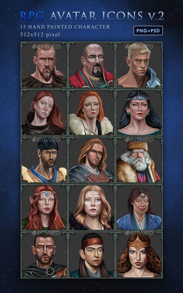 RPG Avatar Icon Set V.2 - Miscellaneous Game Assets