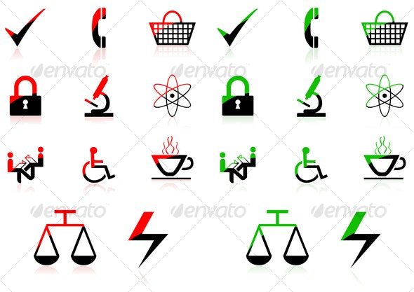Red green icons - Objects Icons