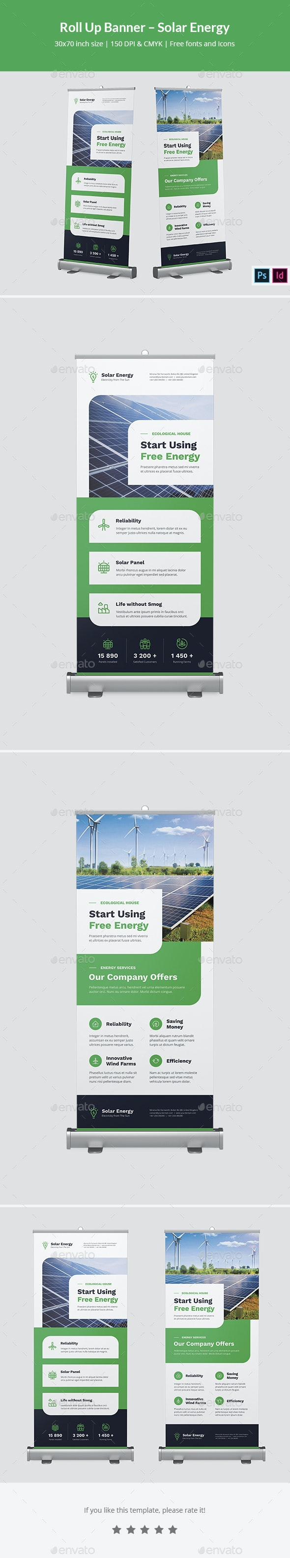 Roll Up Banner – Solar Energy - Signage Print Templates