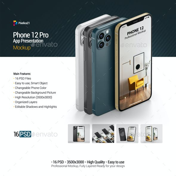 Phone 12 Pro - App Presentation Mockup