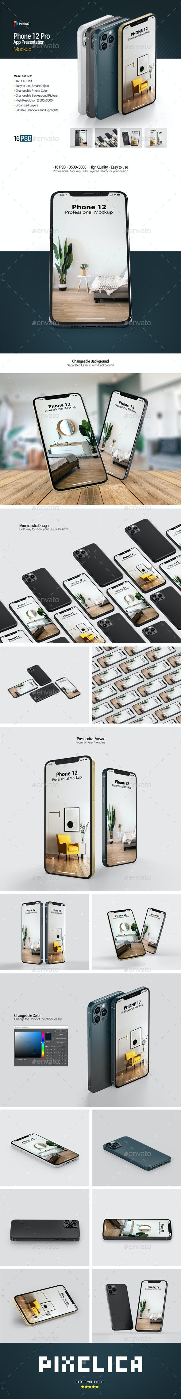 Phone 12 Pro - App Presentation Mockup - Mobile Displays