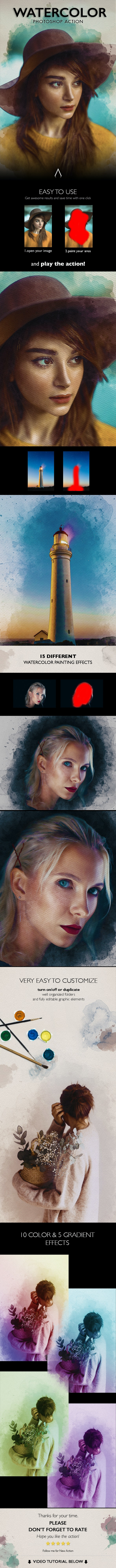 Watercolor Photoshop Action - Photo Effects Actions