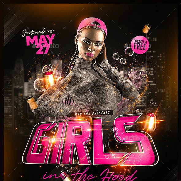 Girls in the Hood Hip Hop Party Flyer