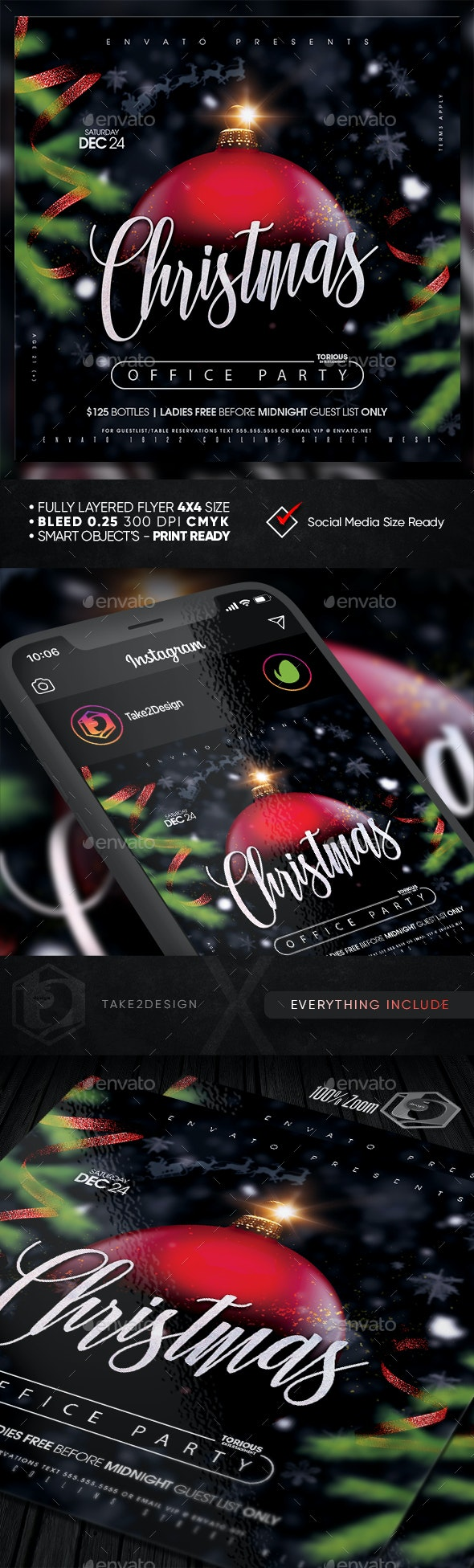 Christmas Office Party Flyer Template - Clubs & Parties Events