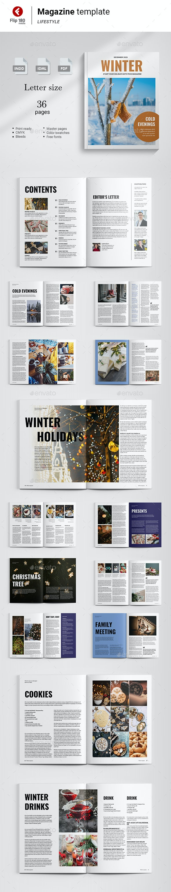Winter Magazine Template - Magazines Print Templates
