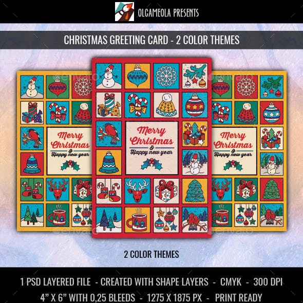 Merry Christmas Greeting Card. New Year Poster with Winter Decorations and Gifts