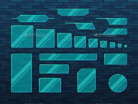 Pixel Art Game UI Set of Glass Boarders In Futuristic Style - User Interfaces Game Assets