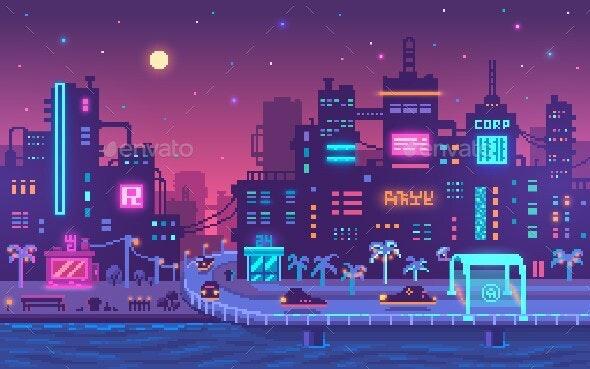 Pixel Art Cyberpunk Metropolis Background - Miscellaneous Game Assets