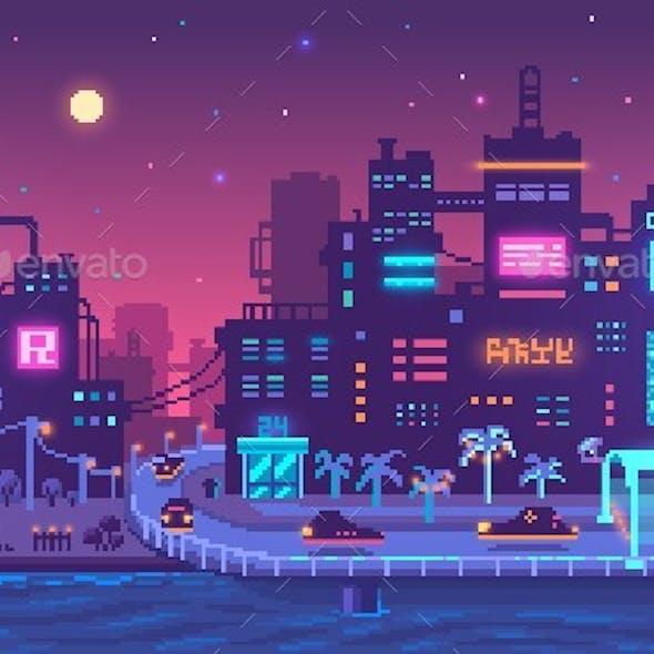 Pixel Art Cyberpunk Metropolis Background