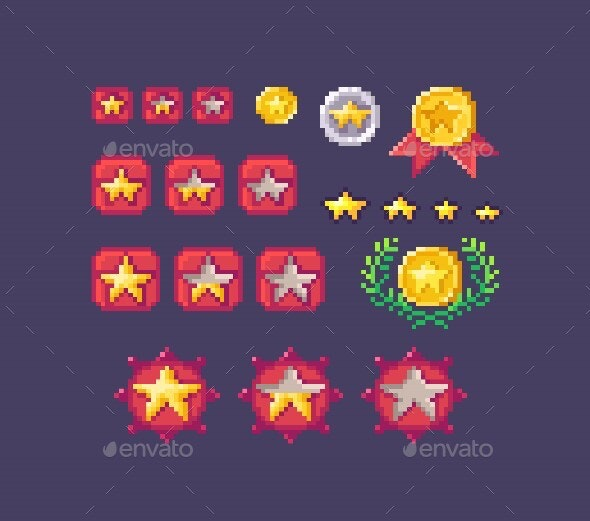Pixel Art Set Of Star Rating Buttons Different Sizes - Miscellaneous Game Assets