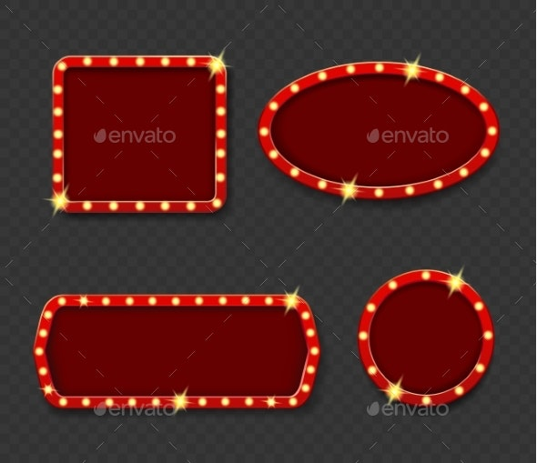 Shining Retro Banner with Light Bulbs. - Miscellaneous Vectors