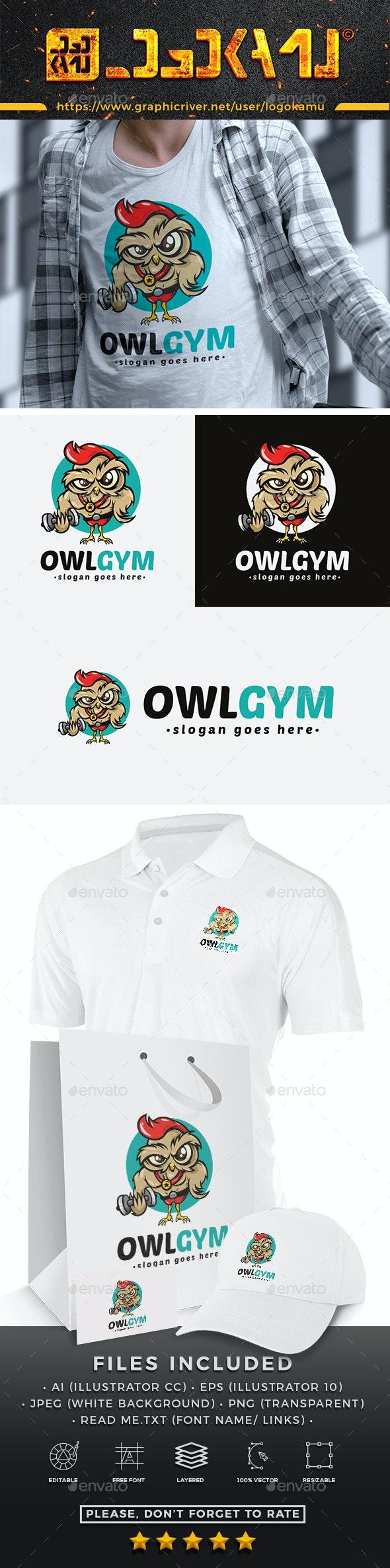 Owl Gym Cartoon Logo - Animals Logo Templates