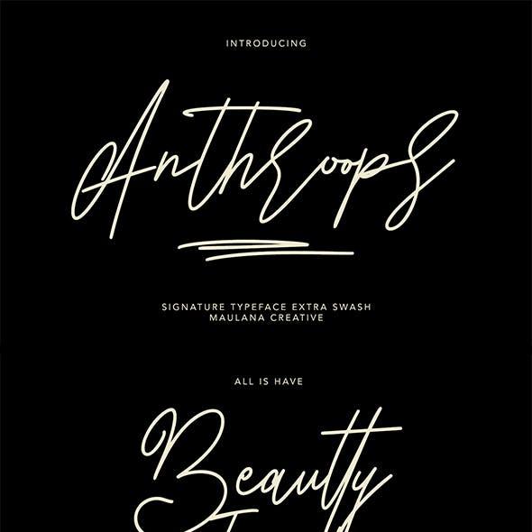 Anthroops Signature Typeface Extra Swash