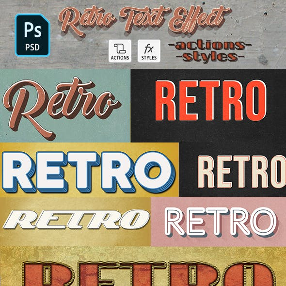 Retro Text Effect - 10 Photoshop Different Styles