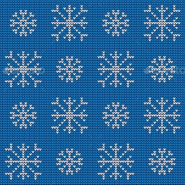 Knitted Nordic Ornament with Snowflake