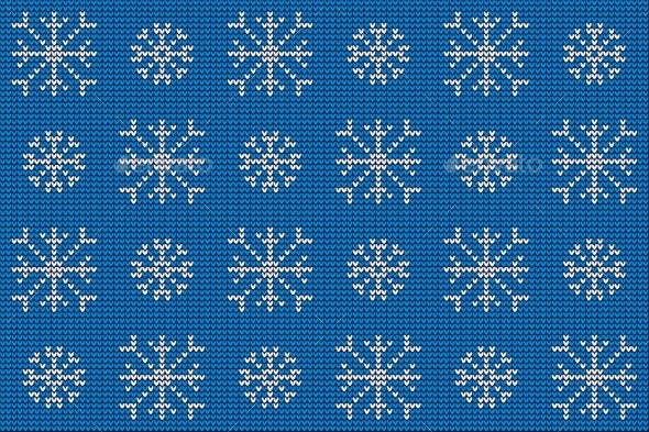 Knitted Nordic Ornament with Snowflake - Christmas Seasons/Holidays