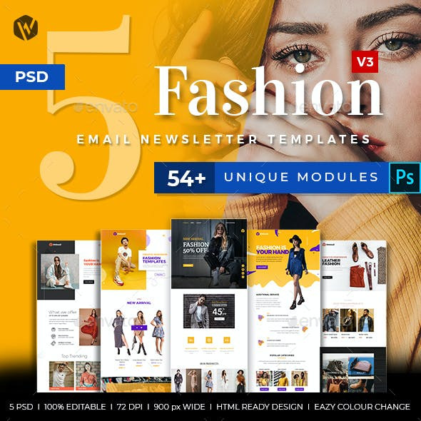 5 Fashion Email Newsletter PSD Templates v3
