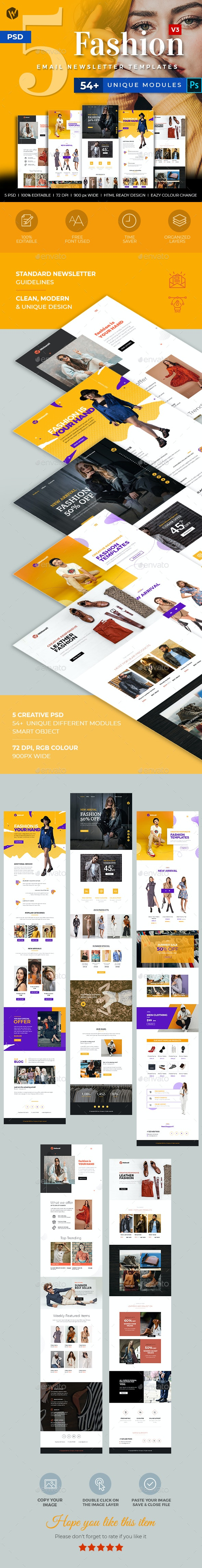 5 Fashion Email Newsletter PSD Templates v3 - E-newsletters Web Elements
