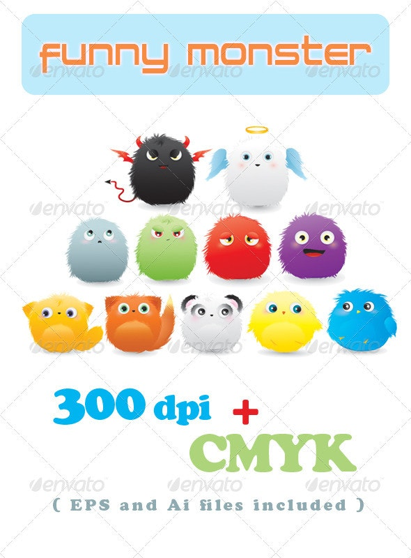 Funny Monster - Characters Vectors