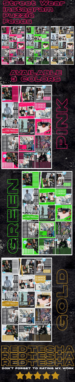 3 PSD Streetwear Instagram Feed Puzzle - Social Media Web Elements