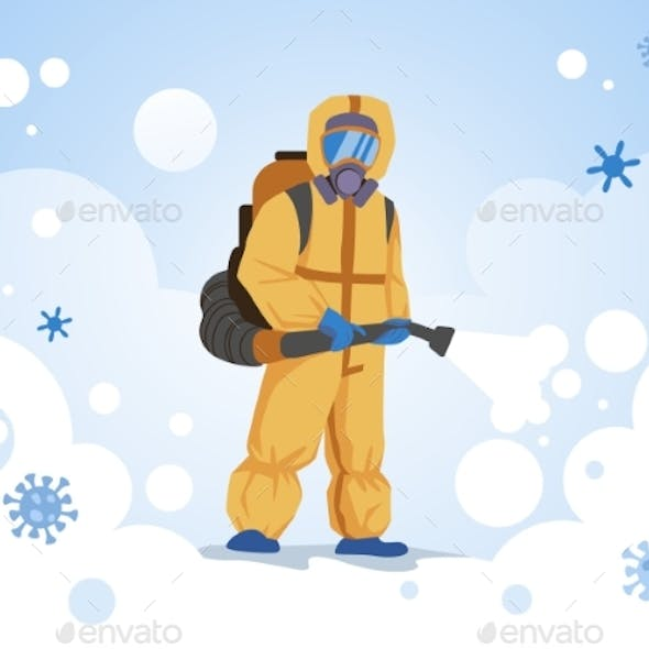 Decontamination Doctor Wearing Special Overalls