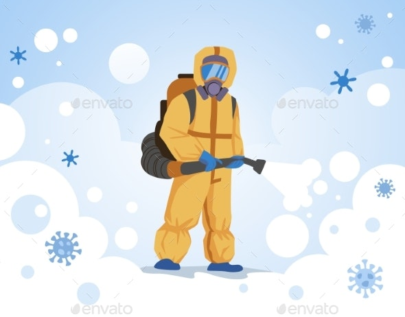 Decontamination Doctor Wearing Special Overalls - Health/Medicine Conceptual