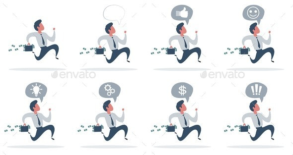 Businessman with a Suitcase Full of Money Runs - Concepts Business