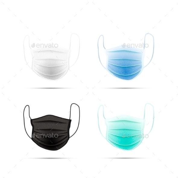 Set of Different Realistic Medical Face Masks - Health/Medicine Conceptual