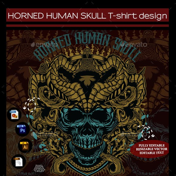 Horned Human Skull T-shirt Design
