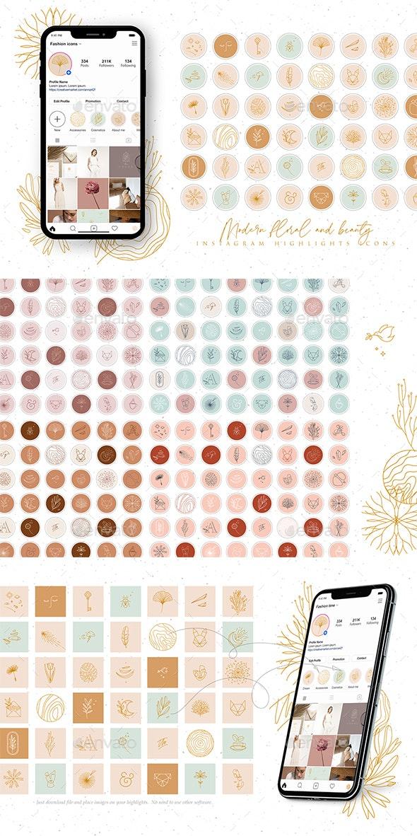 Modern Beauty Instagram Highlights - Social Media Web Elements