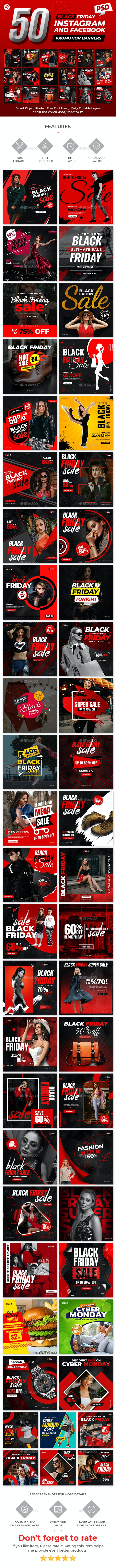 50-Black Friday Promotional Banners - Social Media Web Elements