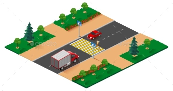 Pedestrian Crossing Road Isometric Projection - Miscellaneous Vectors