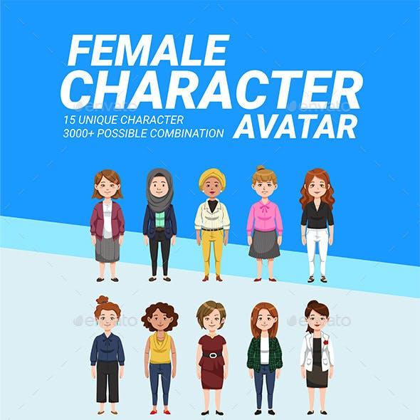 Female Character Avatar Vector Pack