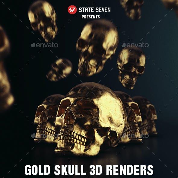 Gold Skull 3D Renders