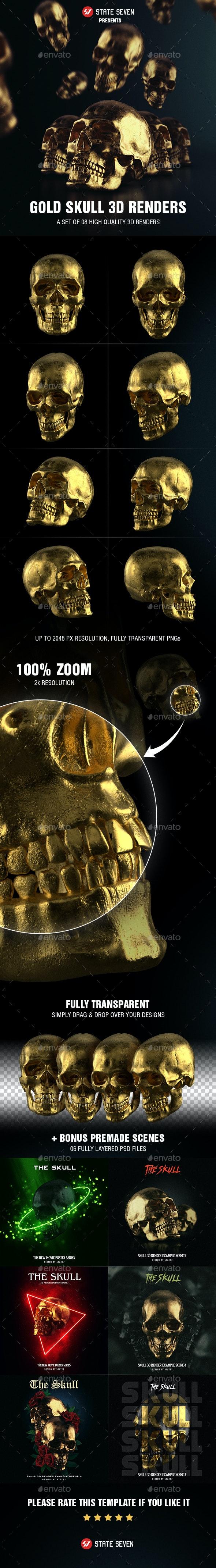 Gold Skull 3D Renders - Objects 3D Renders