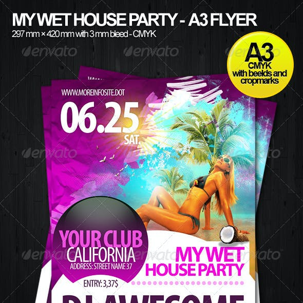Wet House Party A3 Flyer