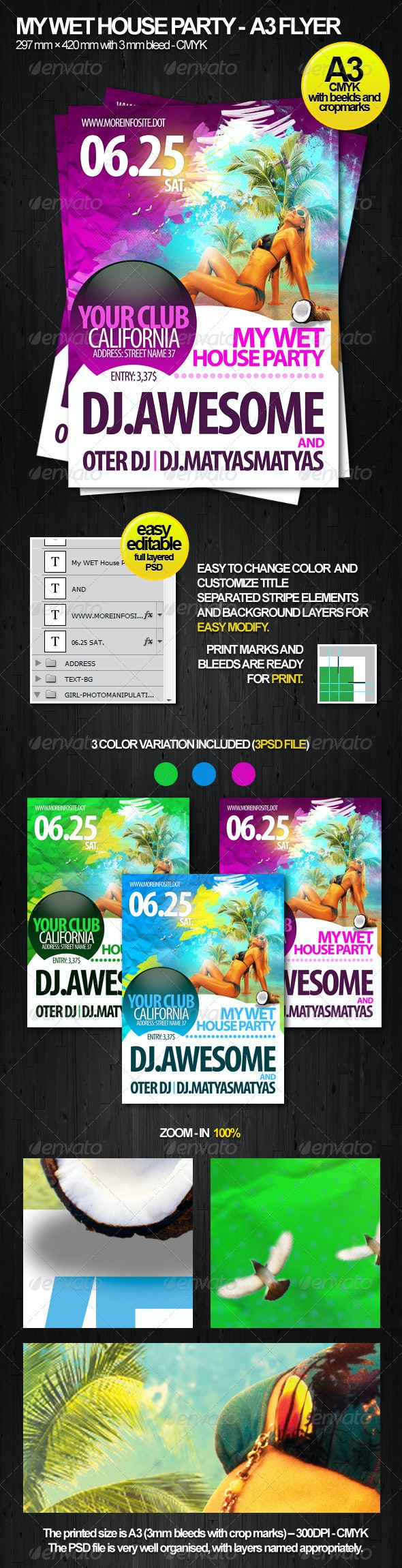 Wet House Party A3 Flyer - Clubs & Parties Events