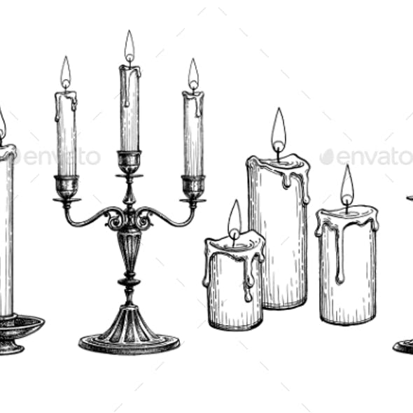 Ink Sketch of Candles