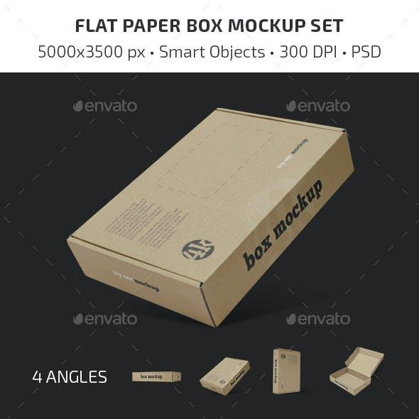 Flat Paper Box Mockup Set