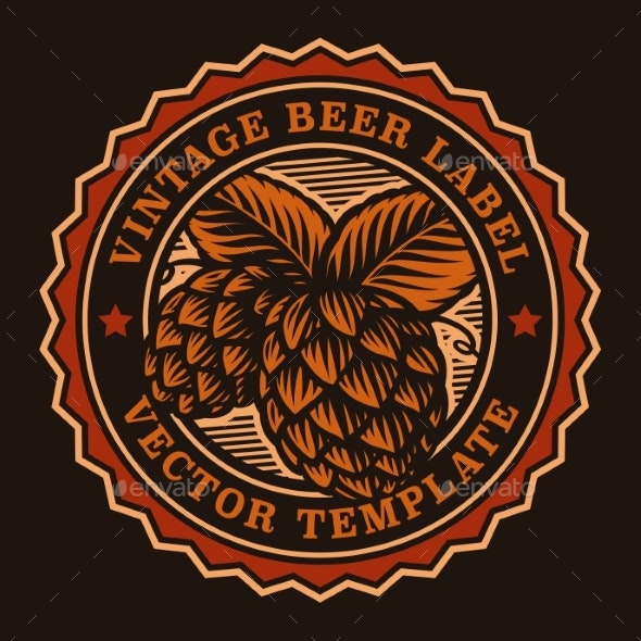 A Colorful Vintage Beer Emblem - Food Objects