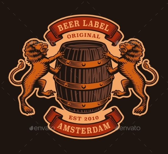 A Vinatge Brewery Emblem with a Barrel and Lions - Food Objects