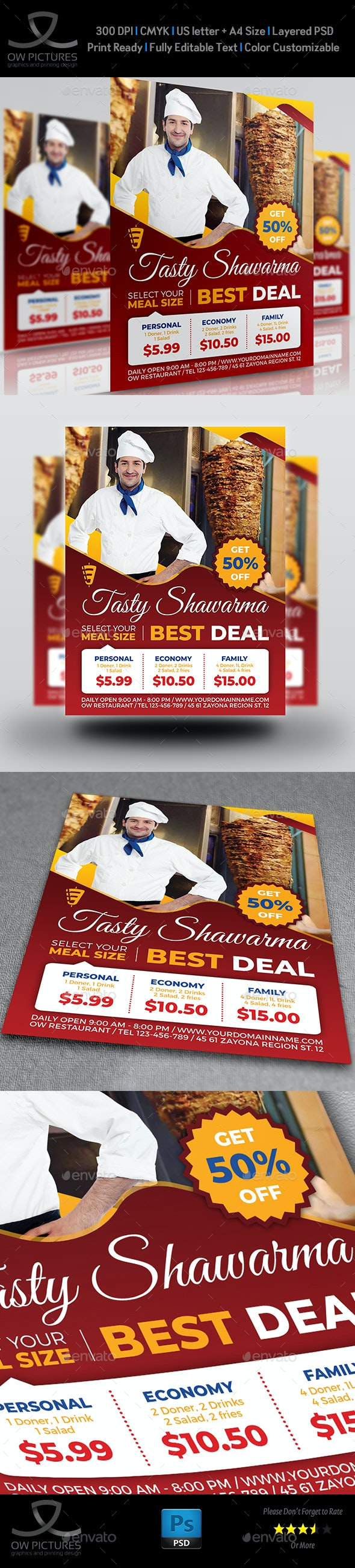 Shawarma Restaurant Flyer Template - Restaurant Flyers