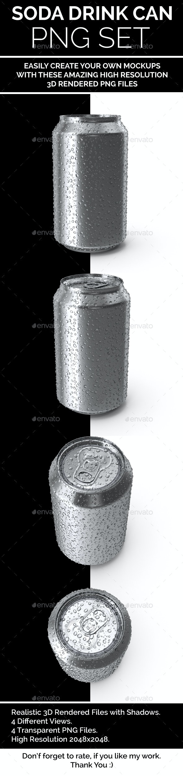 SODA Drink Can Isolated PNG Set 3D Rendered - Objects 3D Renders