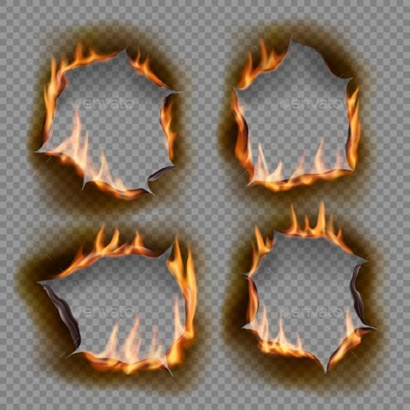 Burning Holes Vector Burn Paper with Charred Edges