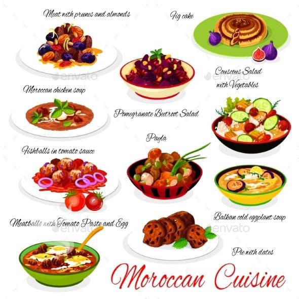 Moroccan Cuisine Restaurant Meals Vector