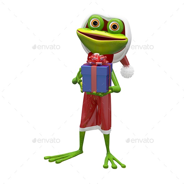 3D Illustration of a Frog with a Gift - Characters 3D Renders