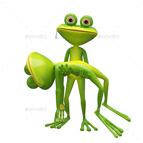 3D Illustration of a Frog Holding a Frog - Characters 3D Renders