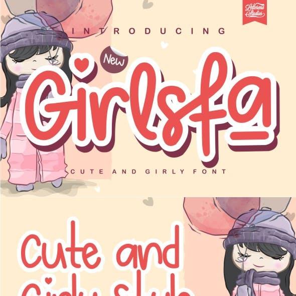 Girlsfa - Cute and Girly Monoline Font