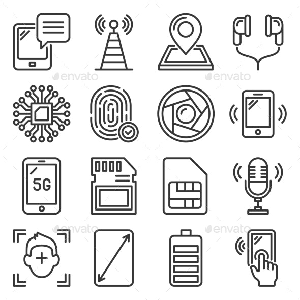 Mobile Phone Specification Icons Set on White - Computers Technology